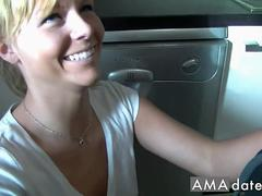 blonde housewife banged fast in the kitchen feature