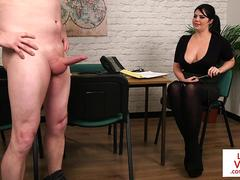 Curvy euro teasing a submissive guy