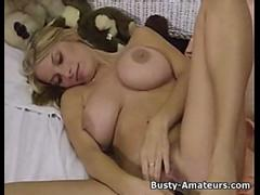 Busty amateur blonde Mary masturbates her pussy after an interview