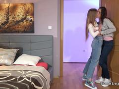Sensual teen lesbians licking in bed