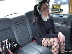 Muscular taxi driver bangs pigtailed babe