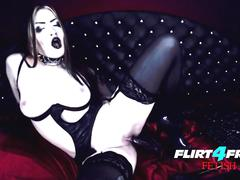 Erny Dark - Flirt4Free Fetish - Latex Wearing Goth Goddess Fucks Her Perfect Petite Body