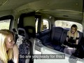 Blonde lesbians in fishnets licking in taxi