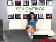 Petite spex teen bound and fucked at casting
