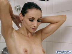 Lesbian threesome pussylicking after shower