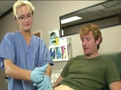 Gloved doctor wanks patient till big cumload