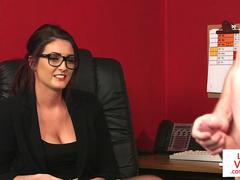 Spex office babe dominates over naked sub