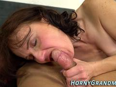 Mature grannys mouth jizz