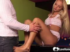Blonde slut sucking cock and riding sensually