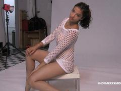 Shanaya Beautiful Indian Beauty In White Fishnet Nude Photo Session