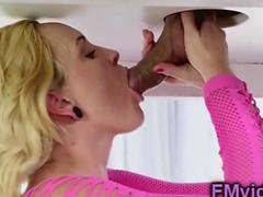 Miley May milking table sucking