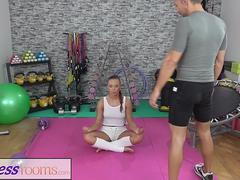 Fitness Rooms Gym yoga girl POV blowjob throat fuck and creampie
