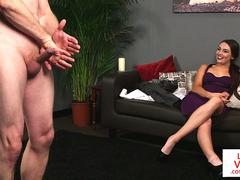 CFNM voyeur beauty enjoys sub jerking off