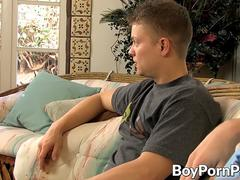 Big dicked twink shoves it up his bottom lover balls deep