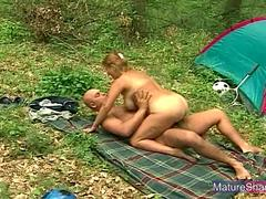 Blonde Granny Fucked Outdoors