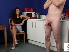 Cute UK babe instructs naked stud