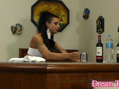 Tattooed Transsexual Isa Potter Jams a Thick Dildo Up Her Rectum