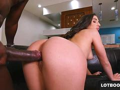 Big ass brunette gets fucked by big black cock doggystyle