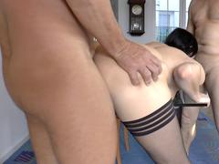 Assfucked MILF jizzcovered after DP pounding