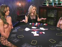 Strip poker and anal threesome lesbians