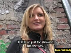 European babe riding strangers cock for cash