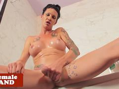 Wet trans goddess wanks cock in the shower