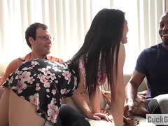 Nari Park fucks a big black cock while her husband watches