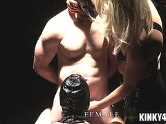 Hot mistress slave training with cumshot