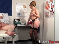 Clothed nurse watches tug