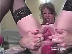 Fisting, huge toy and prolapse Mature.