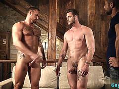 muscle gay threesome and creampie segment