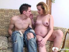 Pregnant beauty gets her pussy plowed hard