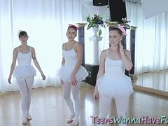Teen ballet dancer riding