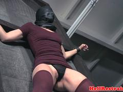 Slave beauty gets bent over and flogged