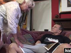 Blonde granny has fun with a dick