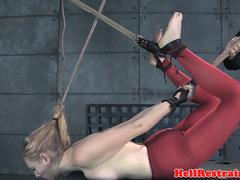 Hogtied slave gagged and dominated by master