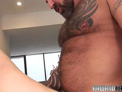 Handsome bear cums during doggystyle breeding