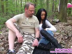 German old man fuck young 18yo petite teen outdoor in forest