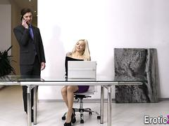 Blonde secretary spermed