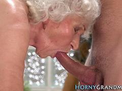 Granny sucks off masseur