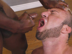 Black monster cock deep in a white gay asshole