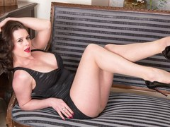 Kinky big tits brunette Karina Currie fucks toy and masturbates with her pantyhose