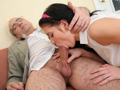 Tricky old teacher is at it again. This time he is giving Angelica a good seeing to