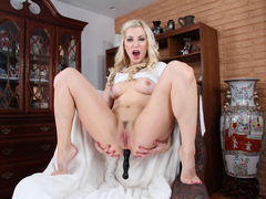 Alluring blonde Ashley gets anal fucked and she sucks it later