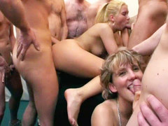 Mature Swallows Many Loads Before Gangbang