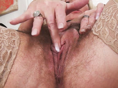 Hot hairy granny masturbating