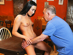 DADDY4K. Young girl and boyfriends daddy embark sensual sex in bar